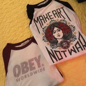 obey 3/4 sleeve shirts